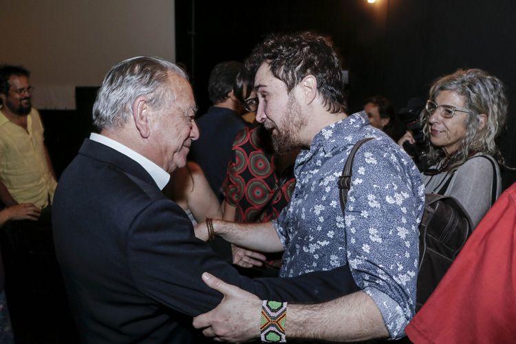 Espaço Itaú de Cinema – Augusta 4 / Álvaro Passos, pai da diretora, e o ator João Miguel na sessão do filme Construindo Pontes, de Heloísa Passos