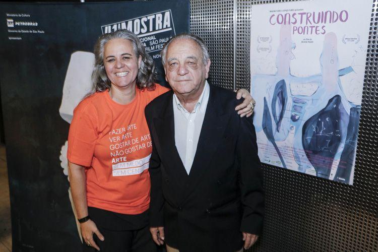 Espaço Itaú de Cinema – Augusta 4 / A diretora Heloísa Passos e o pai Álvaro Passos após a sessão do filme Construindo Pontes